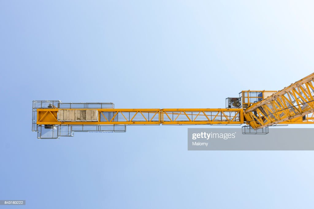 Yellow crane in blue sky - Munich, bavaria, Germany : Stock Photo