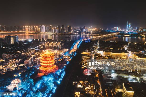 yellow crane tower and yangtze rvier bridge - wuhan city stock pictures, royalty-free photos & images