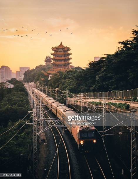 yellow crane tower  in  wuhan - wuhan stock pictures, royalty-free photos & images