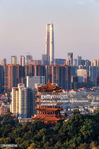 yellow crane tower with lvdi center behind - hubei province stock pictures, royalty-free photos & images
