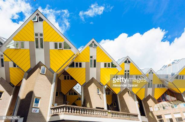 yellow cubic houses in rotterdam, netherlands - northern europe stock pictures, royalty-free photos & images