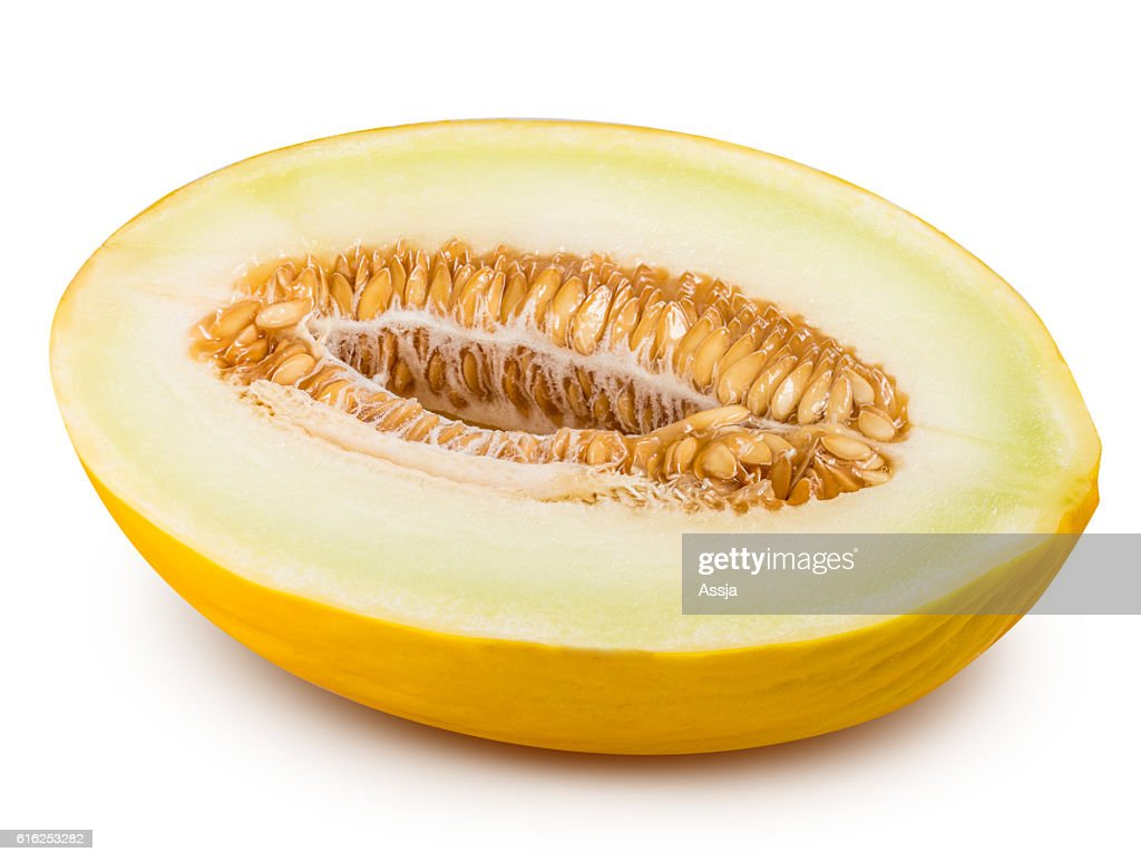 Yellow cut melon isolated on white background : Stock-Foto