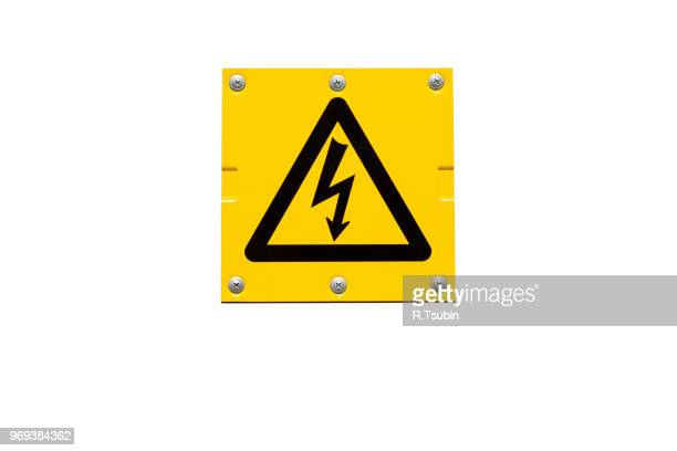 yellow danger of death warning sign isolated on white - warning sign stock pictures, royalty-free photos & images