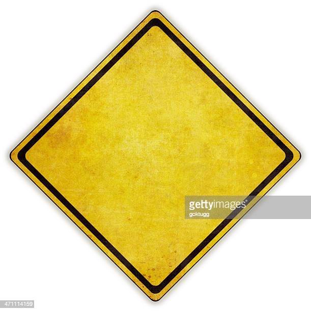 yellow diamond road sign on white background - warning sign stock pictures, royalty-free photos & images