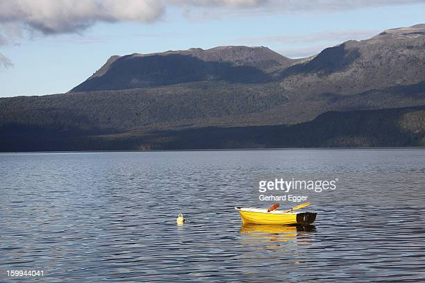 Yellow dinghy on on Lake Tarawera