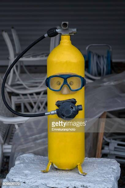 Yellow diving tube with mask and inhaler.