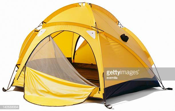 yellow dome tent with open zip enclosure - camping stock photos and pictures