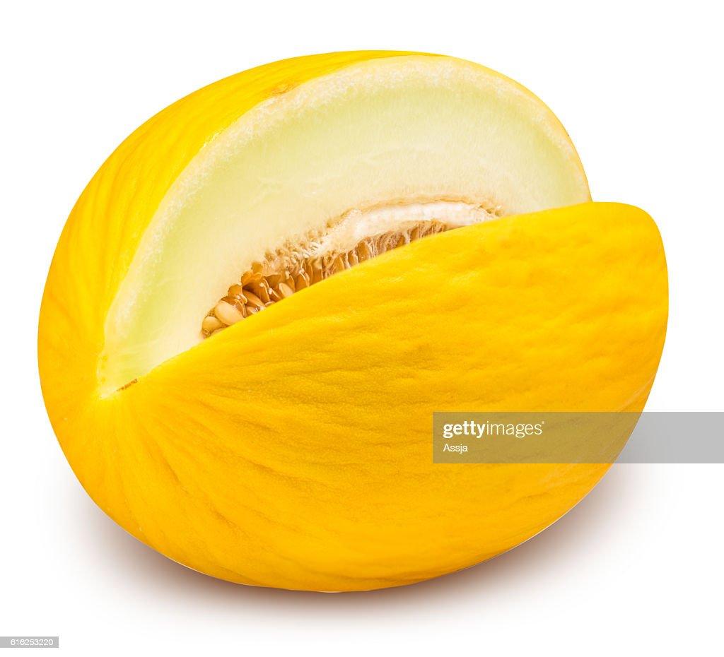 Yellow eating melon isolated on white background : Stock Photo