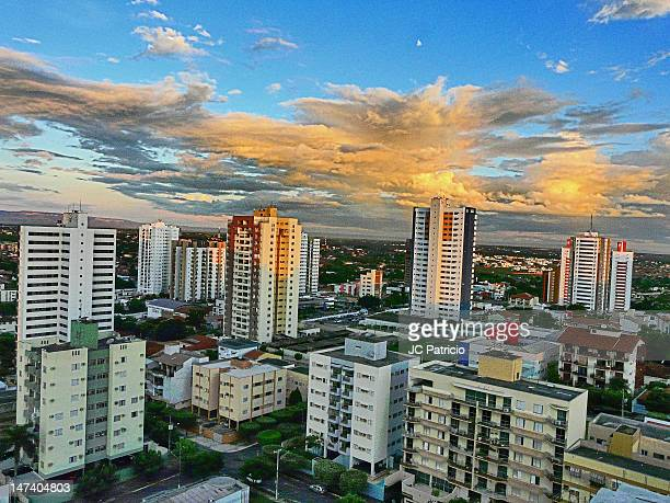 yellow end of day in city - cuiabá stock photos and pictures