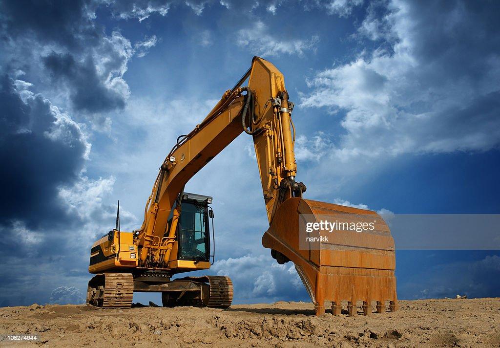Yellow Excavator at Construction Site : Stock Photo