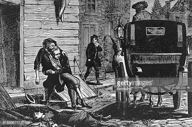 Yellow fever epidemic in Philadelphia, 1793. Carriages rumbled through the streets to pick up the dying and the dead. Woodcut shows Stephen Girard on...