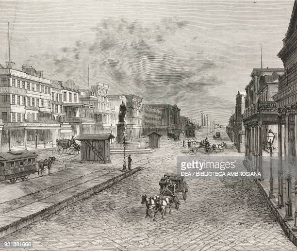 Yellow fever victims being carried along Canal Street to the cemetery during the epidemic in New Orleans United States of America engraving from...
