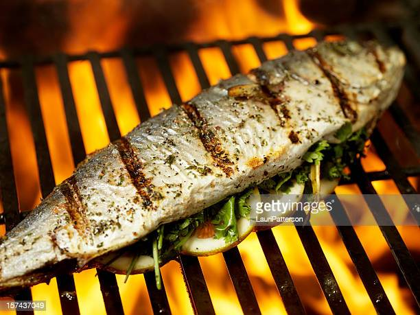 De aleta amarilla pescado barbacoa