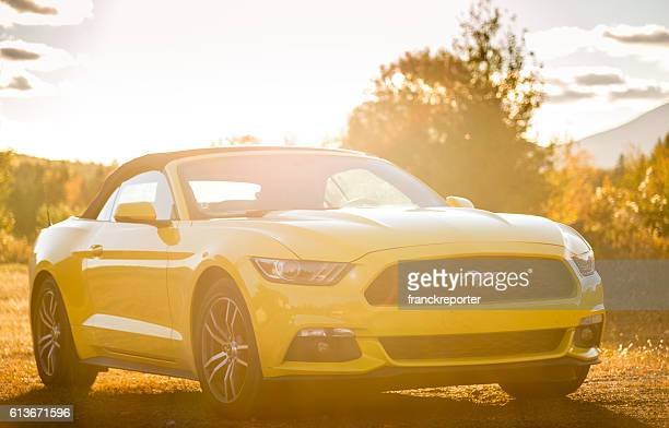 yellow ford mustang gt on the countryside - ford mustang fotografías e imágenes de stock