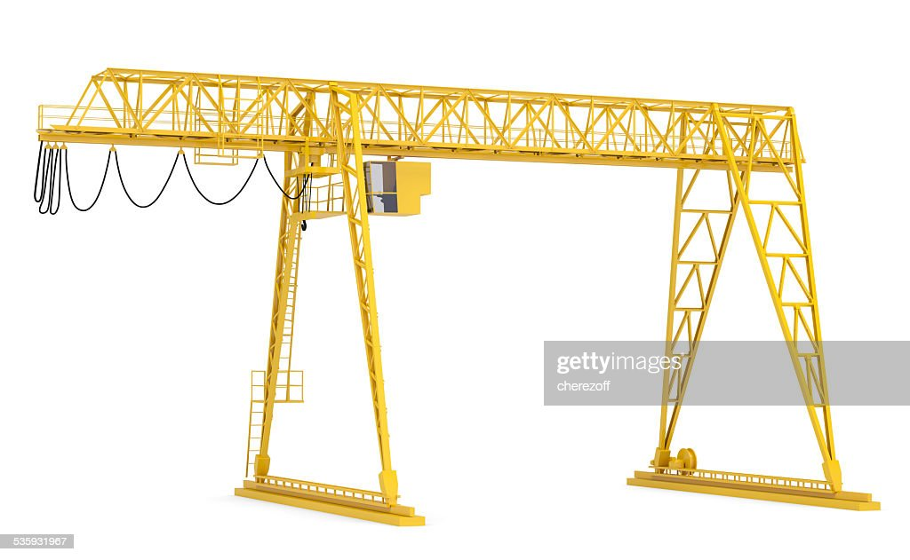 Yellow gantry bridge crane, half-turn : Stock Photo
