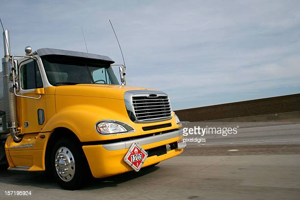 Yellow Gasoline Tanker Truck  w/DOT 1203 sign