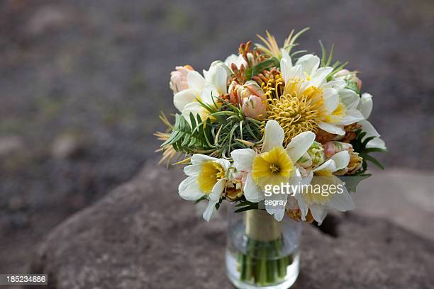 Yellow, green and peach wedding floral bouquet