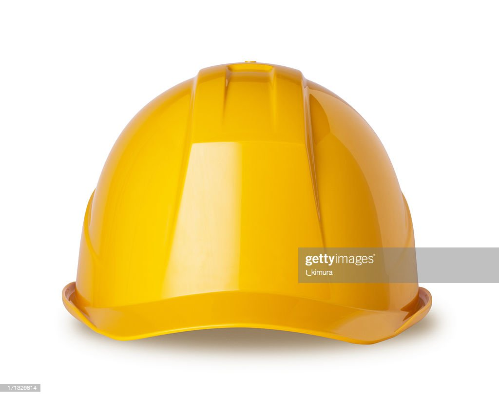 Yellow hard hat on white with clipping path : Stock Photo