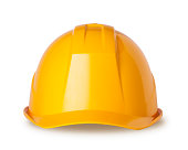 Yellow hard hat on white with clipping path