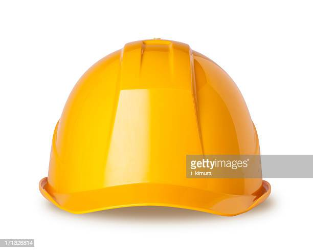 yellow hard hat on white with clipping path - yellow hat stock pictures, royalty-free photos & images