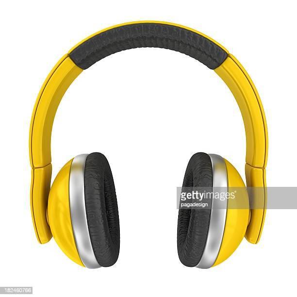 yellow headphones - headphones stock pictures, royalty-free photos & images