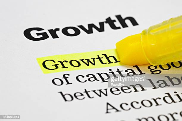 Yellow highlighter emphasizes the word 'Growth' on document