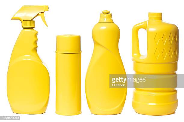 Yellow Household Cleaning Products Isolated on White Background
