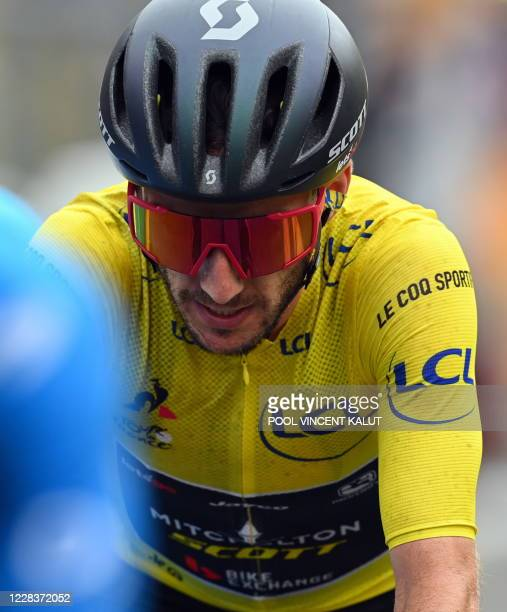 Yellow jersey Adam Yates of Mitchelton - Scott seen at the end of stage nine of the 107th edition of the Tour de France cycling race, from Pau to...