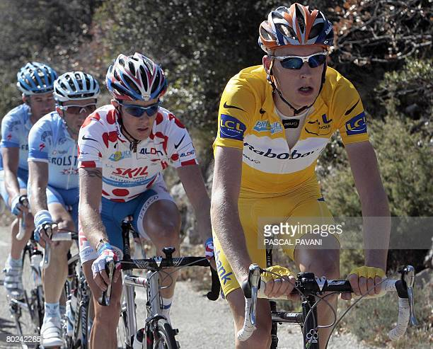 Yellow jersey Dutch Robert Gesink rides with French Clement Lhotellerie on March 14 2008 during the fifth stage of the 66th edition of the ParisNice...