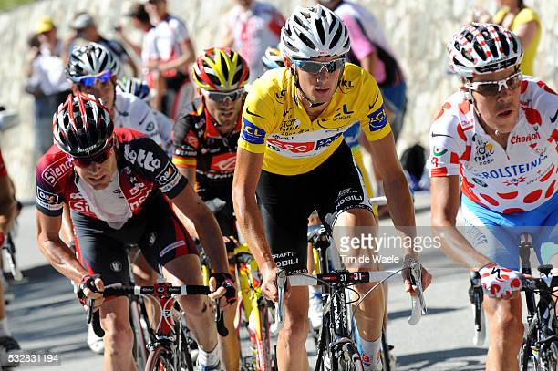 Yellow jersey Frank Schleck leads a group during stage 17 of the 2008 Tour de France between Embrun and L'Alpe-D'Huez.