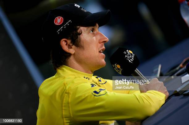 Yellow jersey Geraint Thomas of Great Britain and Team Sky answers to the media during a press conference following stage 20 of Le Tour de France...