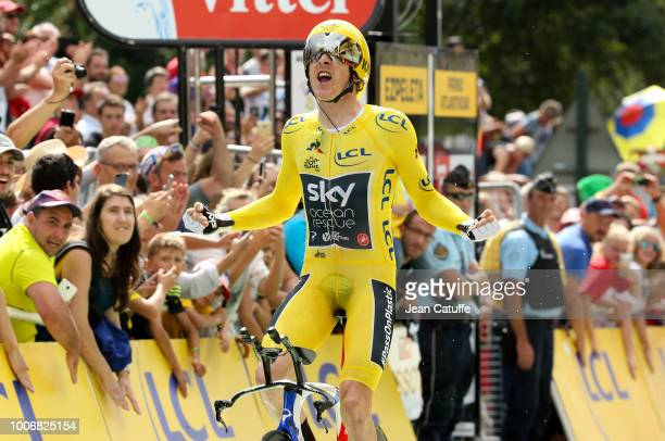 Yellow jersey Geraint Thomas of Great Britain and Team Sky celebrates at finish line during stage 20 of Le Tour de France 2018 an individual time...