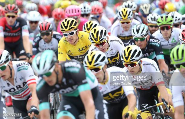 Yellow jersey Geraint Thomas of Great Britain and Team Sky, Chris Froome of Great Britain and Team Sky during stage 21 of Le Tour de France 2018...