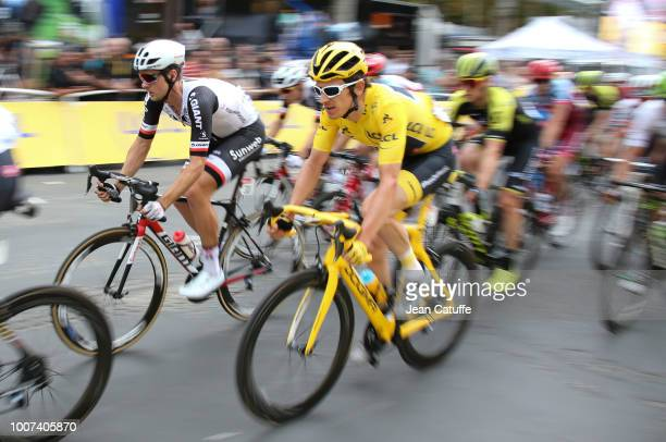 Yellow jersey Geraint Thomas of Great Britain and Team Sky during stage 21 of Le Tour de France 2018 between Houilles and Paris avenue des...