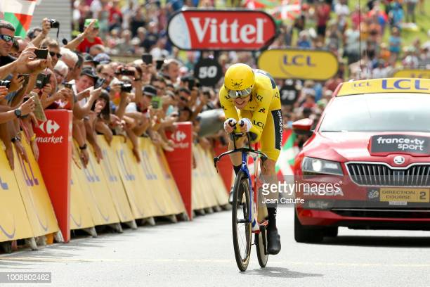 Yellow jersey Geraint Thomas of Great Britain and Team Sky finishing stage 20 of Le Tour de France 2018 an individual time trial of 31 km between...