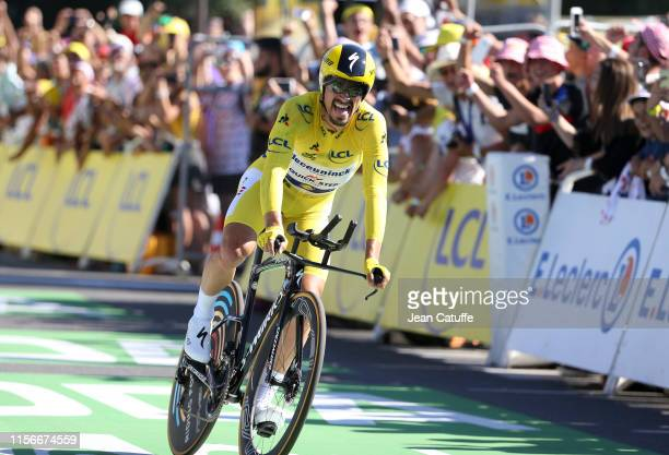 Yellow jersey Julian Alaphilippe of France and Deceuninck-Quick Step crosses the finish line to win stage 13 of the 106th Tour de France 2019, an...