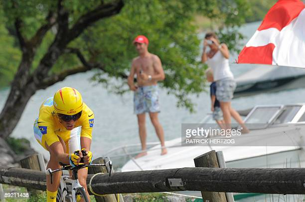 Yellow jersey of overall leader 2007 Tour de France winner and Kazakh cycling team Astana 's leader Alberto Contador of Spain competes on July 23...