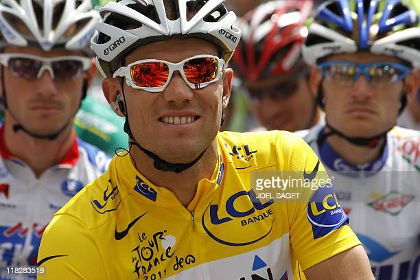 Yellow jersey of overall leader, Norway's Thor Hushovd , waits for the start of the 164.5 km and fifth stage of the 2011 Tour de France cycling race...