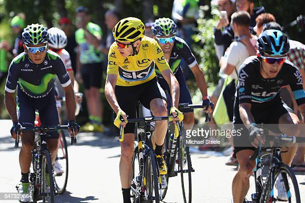 Yellow jersey race leader Chris Froome of Great Britain alongside Nairo Quintana of Colombia and Movistar on the climb to Mont Ventoux during the...