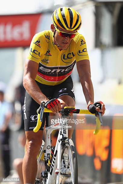 L'ISLEJOURDAIN FRANCE JULY 08 Yellow jersey race leader Greg Van Aduvermaet of Belgium and BMC Racing Team crosses the finishing line during the...