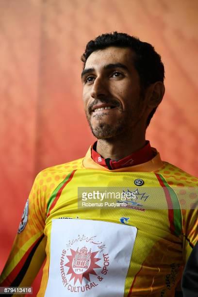 Yellow jersey winner Khalil Khorsid of Tabriz Shahrdary Team Iran is interviewed during stage 9 of the Tour de Singkarak 2017 PasamanBukittinggi 1172...