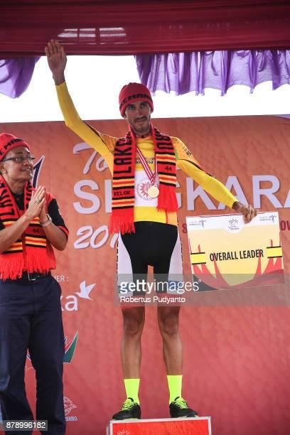 Yellow jersey winner Khalil Khorsid of Tabriz Shahrdary Team Iran celebrates on the podium during stage 8 of the Tour de Singkarak 2017 Padang...