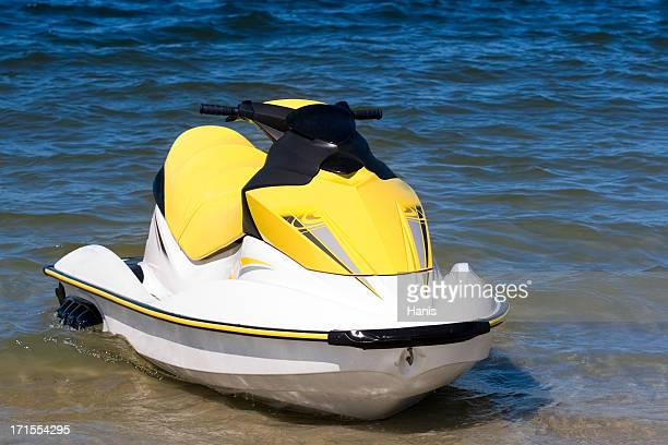 yellow jet ski - jet ski stock pictures, royalty-free photos & images