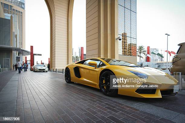 Yellow Lamborghini at Dubai Mall