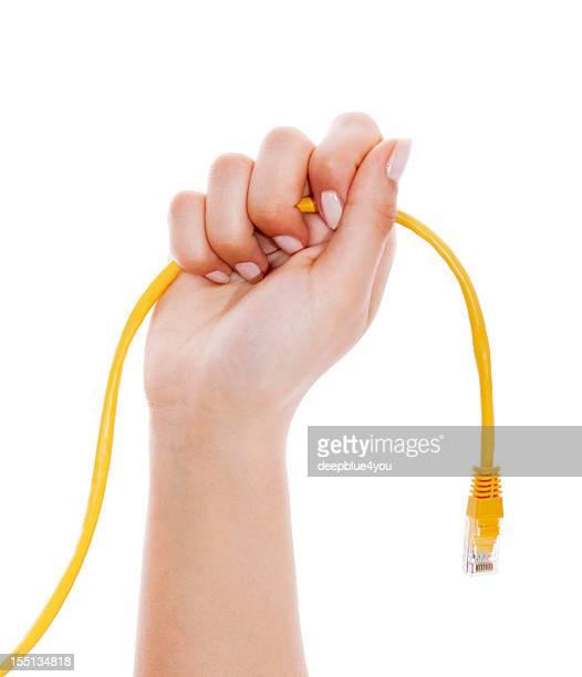 黄色 lan cabe の女性の手、ホワイト