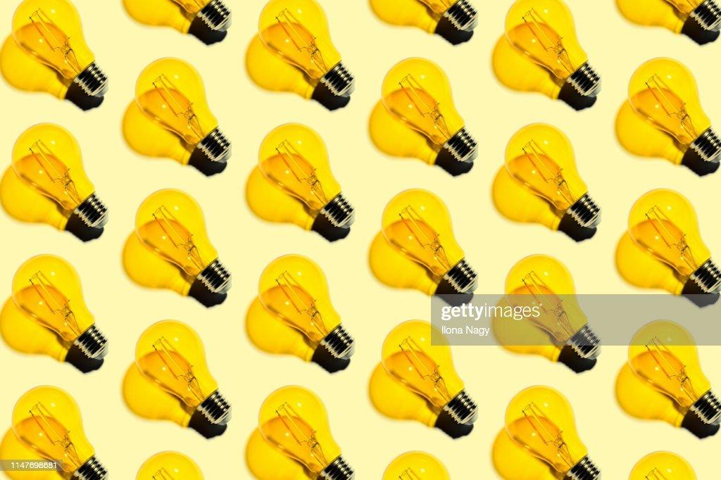 Yellow light bulbs : Stock Photo