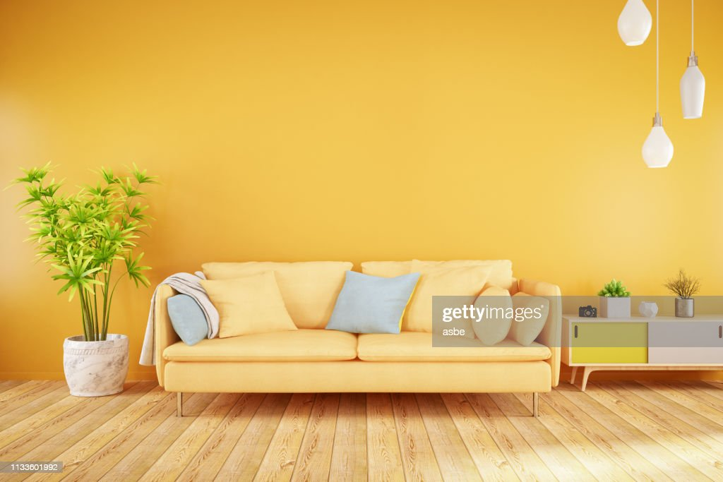 Yellow Living Room with Sofa : Stock Photo