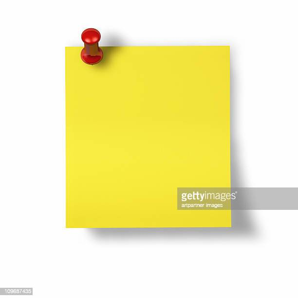 Yellow Memo, Notes or Post-it with red Pin