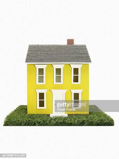 Yellow model house on grass, studio shot