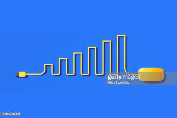 yellow mouse cable forming a bar graph on blue background - data visualization stock pictures, royalty-free photos & images